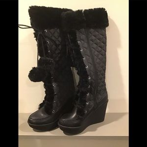 Just Fab Quilted & Faux Fur Knee High Boot
